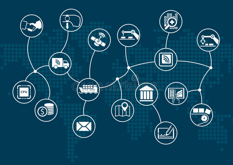 Destrukcyjny cyfrowy biznes i przemysłowy internet rzeczy (przemysł 4 0) pojęcie ilustracji