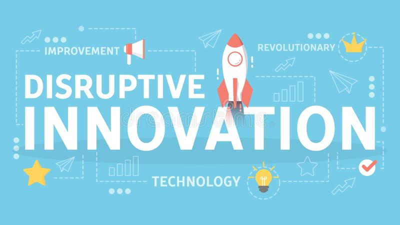 Destrukcyjny innowaci poj?cie Kreatywnie unikalny i pomysł ilustracji