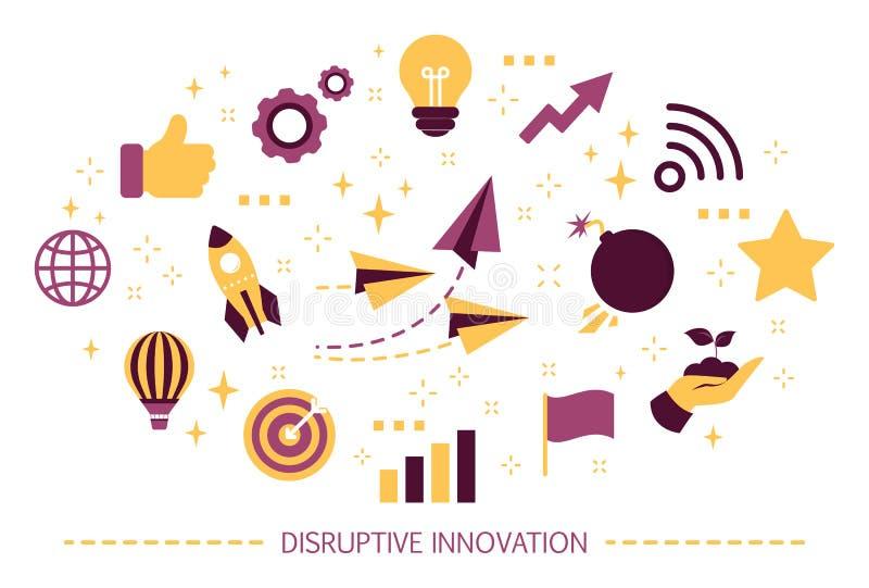 Destrukcyjny innowaci poj?cie Kreatywnie unikalny i pomys? ilustracja wektor