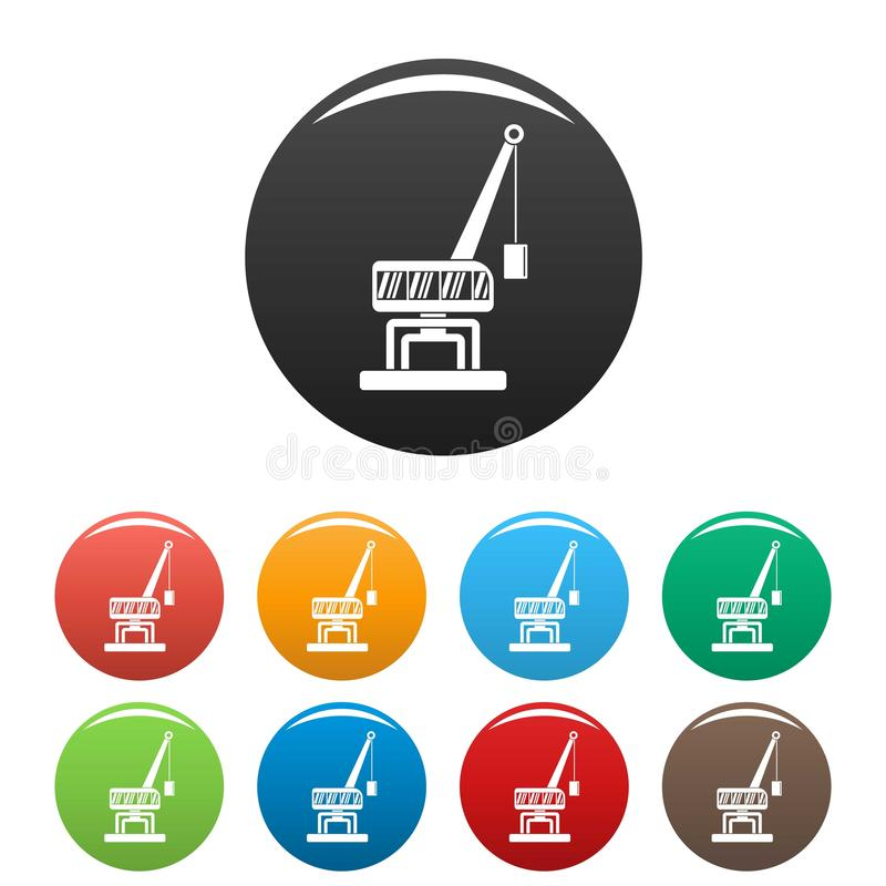 Destruya el color del sistema de los iconos de la grúa stock de ilustración