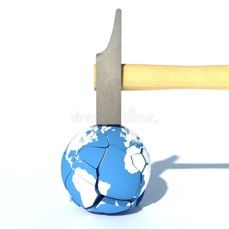 Destruya el concepto de la tierra con un martillo y un globo de la tierra stock de ilustración