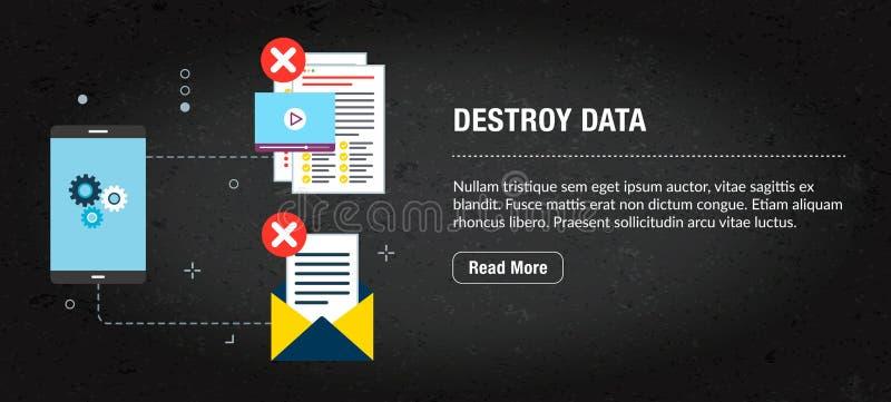 Destruya los datos, Internet de la bandera con los iconos en vector ilustración del vector