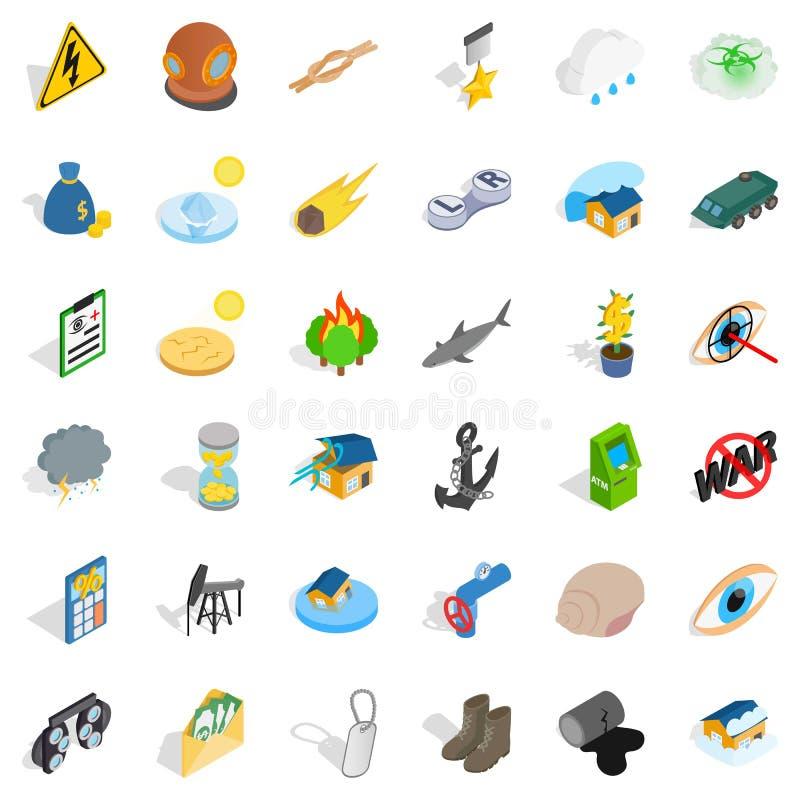 Destruya los iconos fijados, estilo isométrico de la naturaleza libre illustration