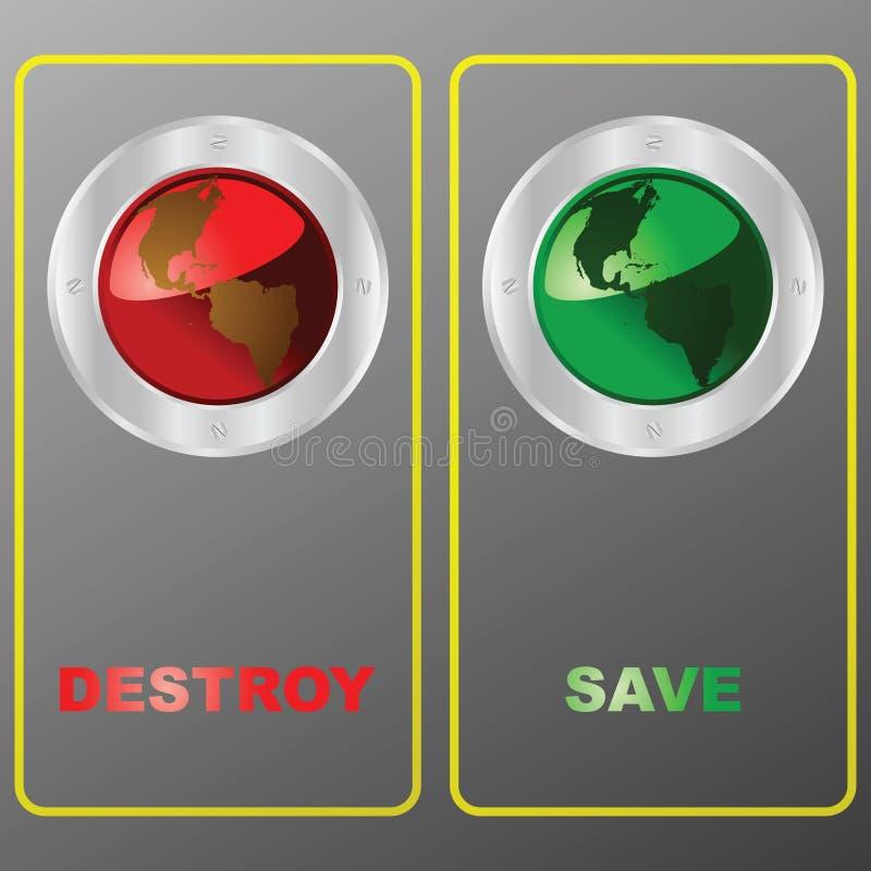 Destruya o salve el planeta ilustración del vector