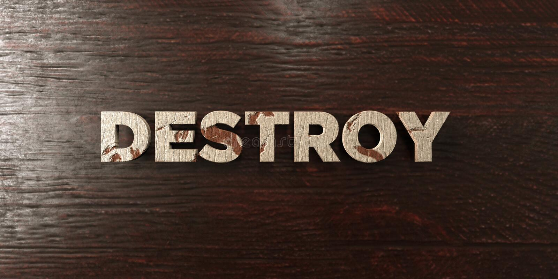 Destruya - título de madera sucio en arce - la imagen común libre rendida 3D de los derechos stock de ilustración