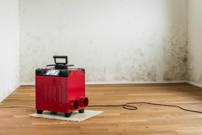 Desumidificador vermelho em uma sala vazia com um problema tóxico do molde e do oídio imagem de stock royalty free