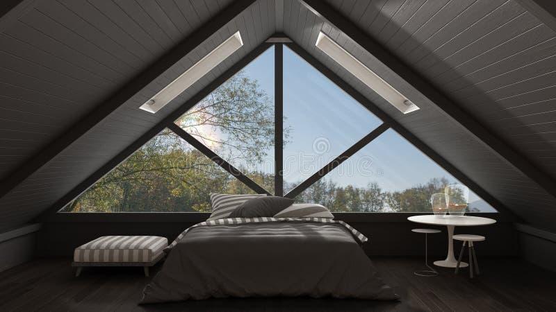 Desván clásico del entresuelo con la ventana panorámica grande, dormitorio, summe foto de archivo