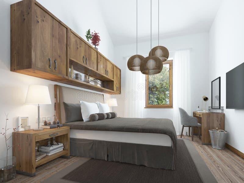 Desván-estilo Del Dormitorio Con Muebles De Madera Y Paredes Blancas ...