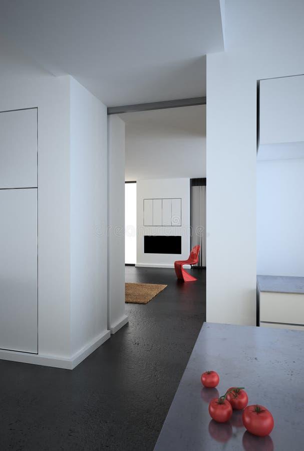 Desván minimalista moderno blanco imagen de archivo