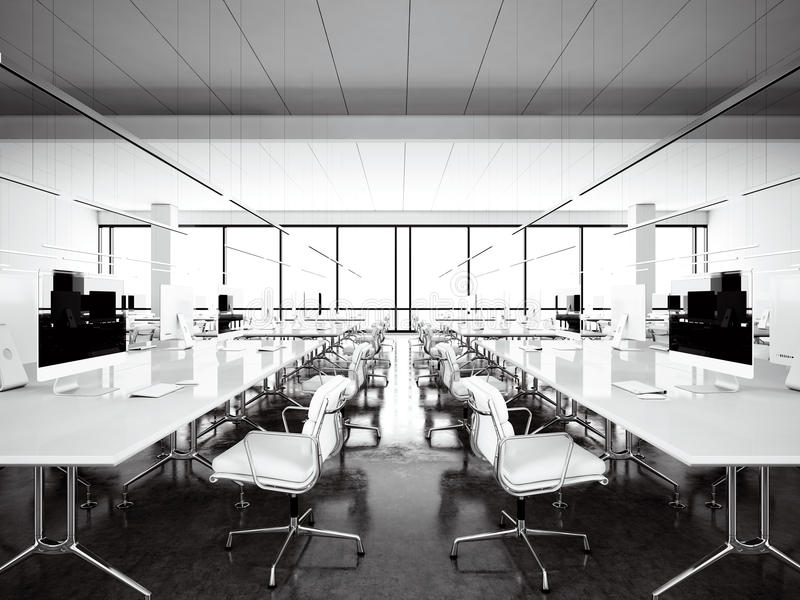 Desván moderno del espacio de trabajo de Inrerior con las ventanas panorámicas Ordenadores genéricos del diseño y muebles blancos stock de ilustración