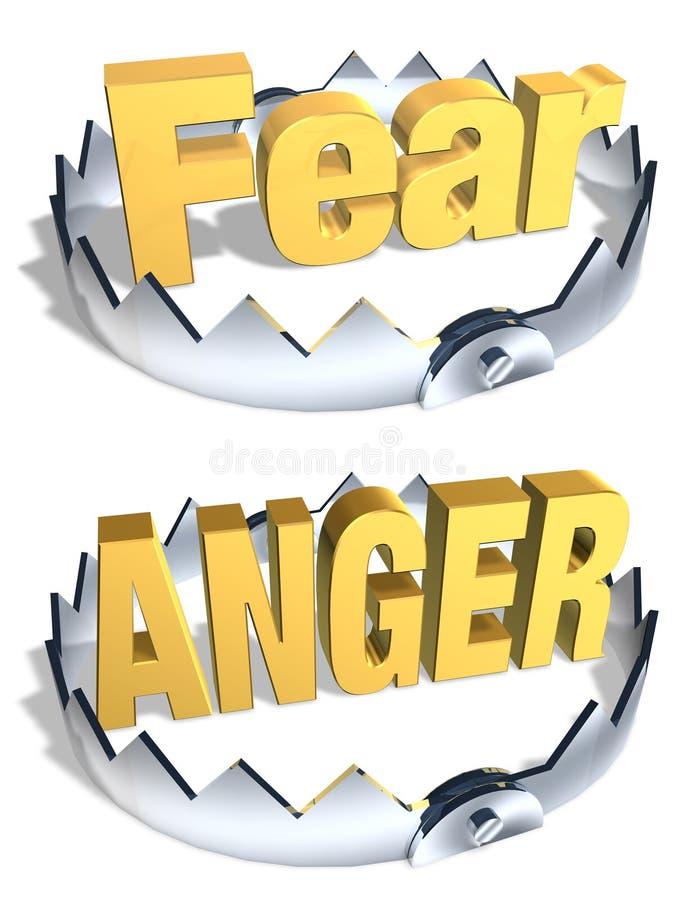 Desvío del miedo/de la cólera ilustración del vector