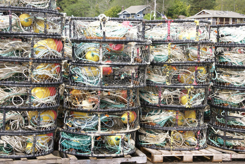 Desvíos, crisoles y flotadores del cangrejo, foto de archivo libre de regalías