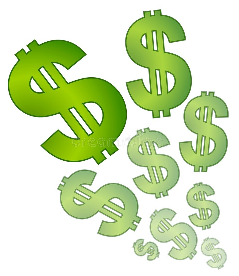 Desvanecimento isolado dos sinais de dólar ilustração royalty free