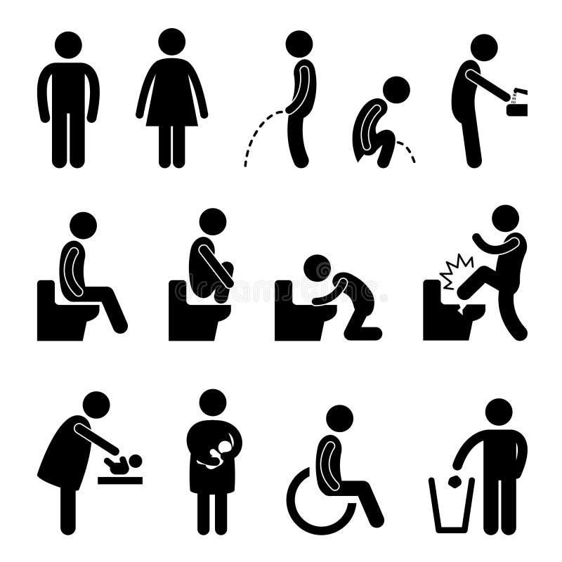 Desvantagem grávida do banheiro do toalete ilustração do vetor