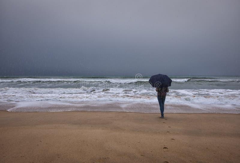 deszcz faro Pla?a zdjęcie stock