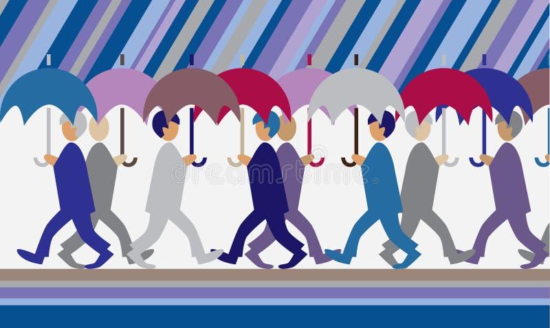 Deszcz i ludzie z parasolami ilustracja wektor
