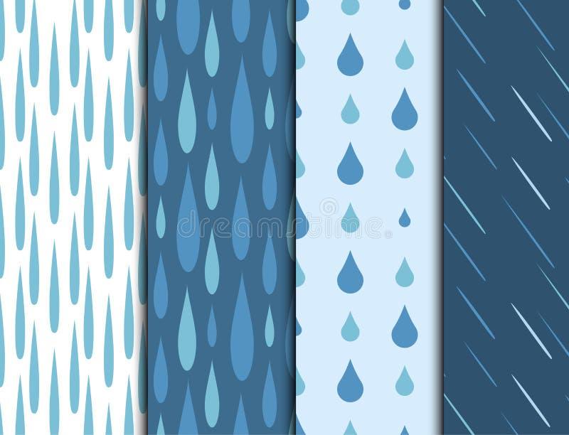 Deszcz kropel tła wektoru bezszwowej deseniowej wody natury raindrop abstrakta błękitna ilustracja ilustracja wektor
