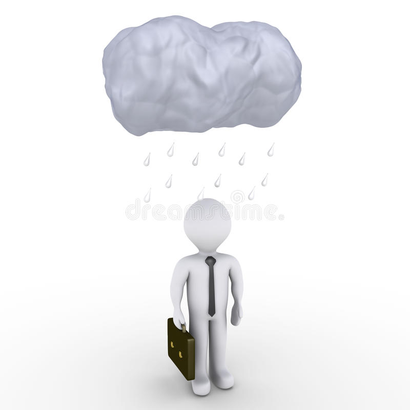 Deszcz spadać na biznesmenie ilustracji