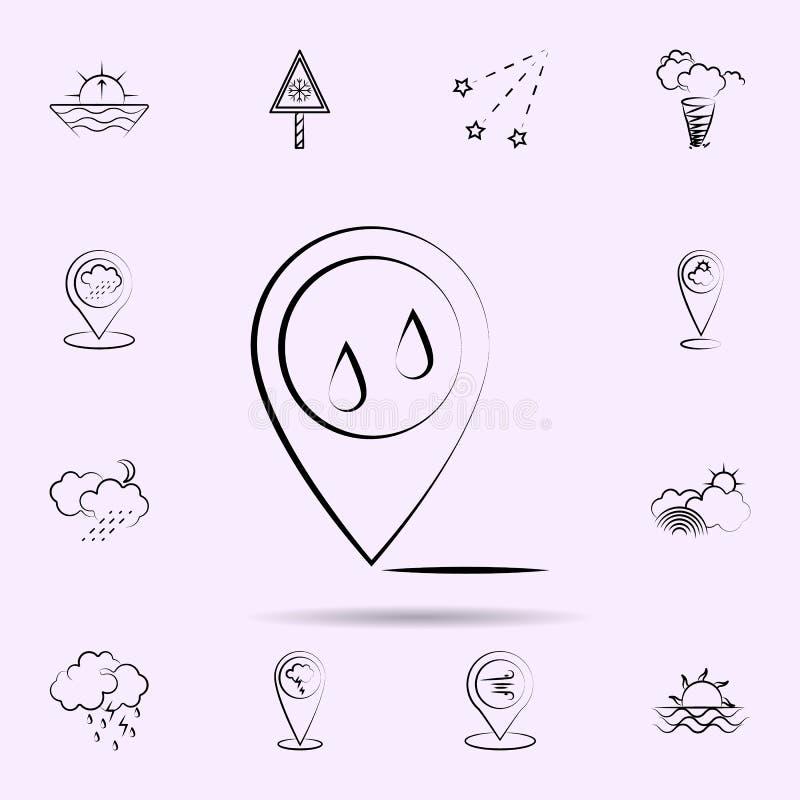 Deszcz, wa?kowa ikona Pogodowy ikony og?lnoludzki ustawiaj?cy dla sieci i wisz?cej ozdoby ilustracji