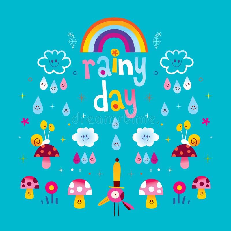 Deszczowy dzień - chmury tęczy raindrops ślimaczków pieczarki royalty ilustracja