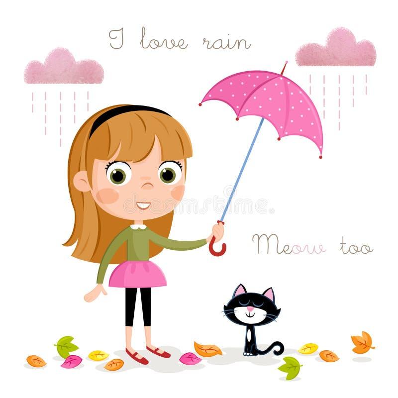 Deszczowy dzień - mała dziewczynka z różowym parasolem i jesień liśćmi royalty ilustracja