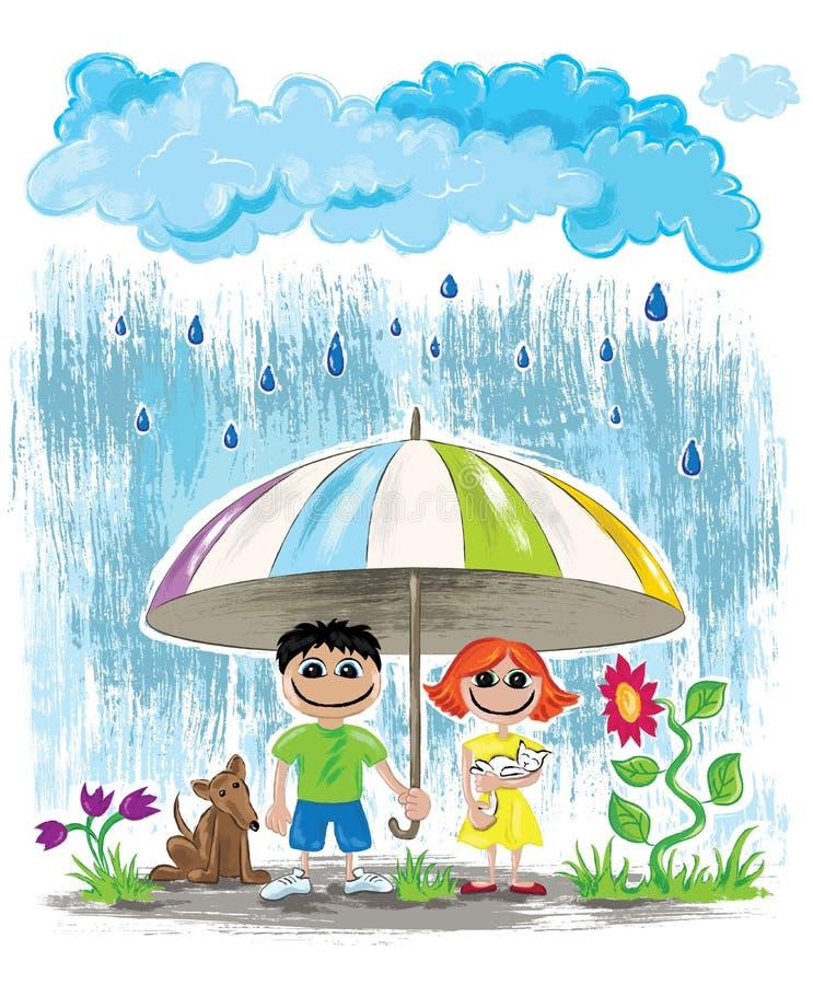 Deszczowych dni dzieciaki z zwierzętami domowymi chuje pod parasolową tapetową pocztówką ilustracja wektor