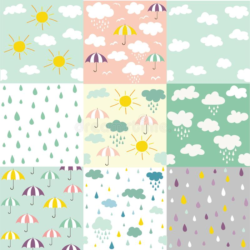 Deszczu i chmur bezszwowi wzory royalty ilustracja