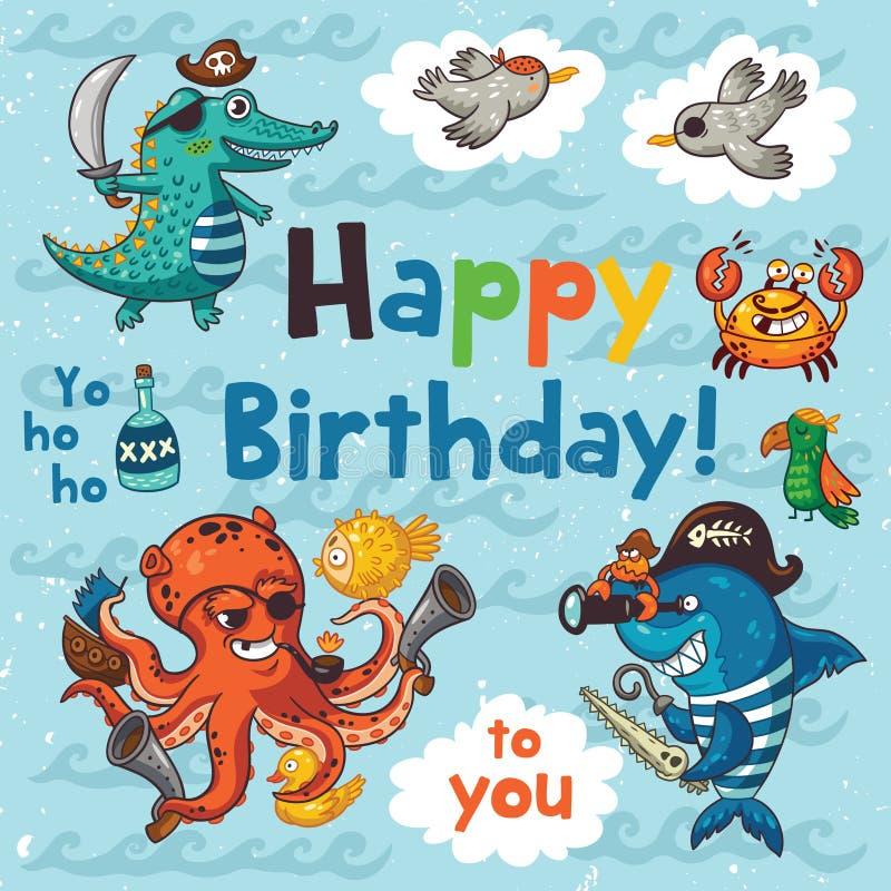 Det älskvärda kortet för den lyckliga födelsedagen med piratkopierar också vektor för coreldrawillustration vektor illustrationer