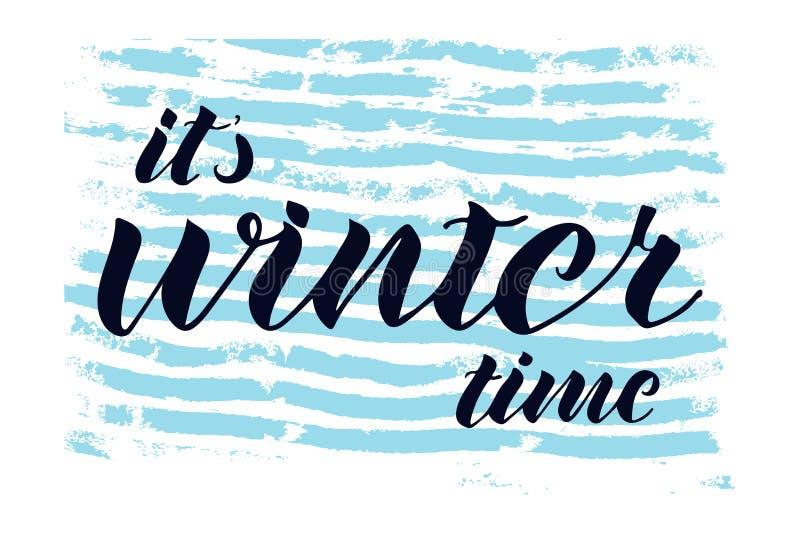 Det är citationstecknet för handen för vintertid det skriftliga Utdragen hotizontal bandbakgrund för blå hand royaltyfri illustrationer