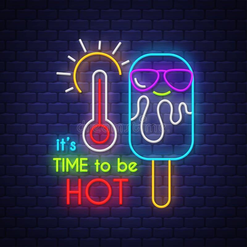 Det är dags att vara varmt f?r teckenstadion f?r neon ny yankee stock illustrationer