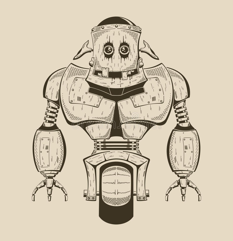 Det är en bild av tecknad filmjärnroboten stock illustrationer