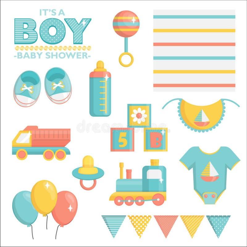 Det är en pojkebaby showeruppsättning royaltyfri illustrationer