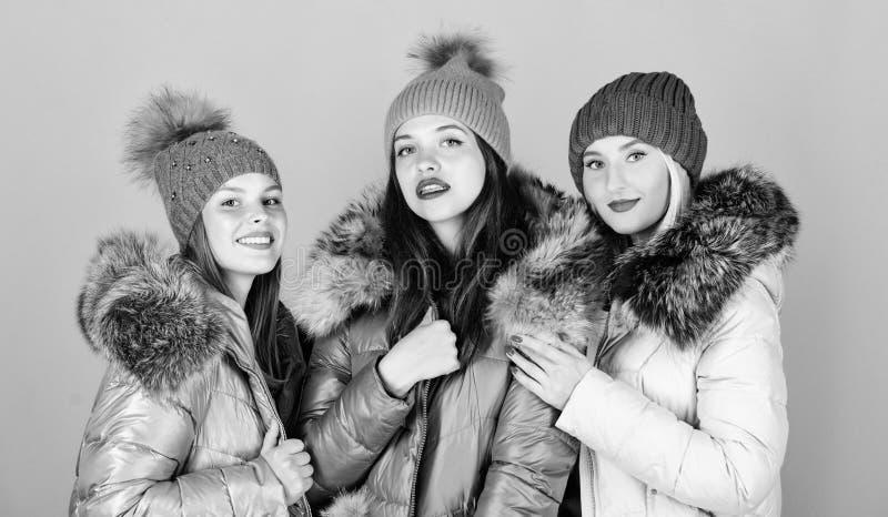 Det är kallt utanför kvinnor i varm rock med tillsatt mat familj christmas glada vintersemestrar Vänskap influensa och kyla arkivfoto