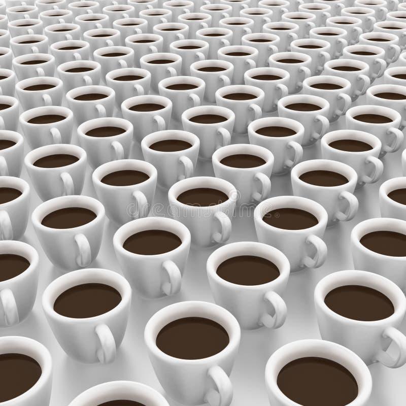 Det är koppar för en radda av kaffe stock illustrationer