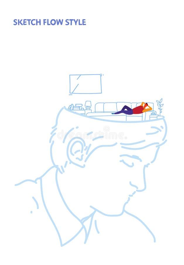 Det öppna mänskliga huvudet med hållande ögonen på TV för mannen på begrepp för idé för modern vardagsrum för soffa inre idérikt  vektor illustrationer
