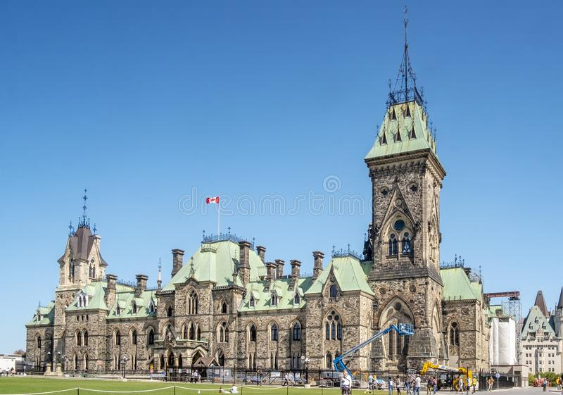Det östliga kvarteret, parlamentkullestad av Ottawa arkivfoto
