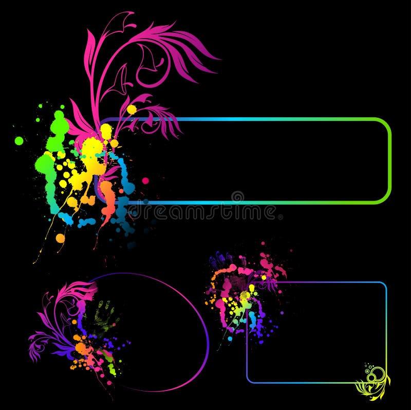 det abstrakt banret fläcer blom- stock illustrationer