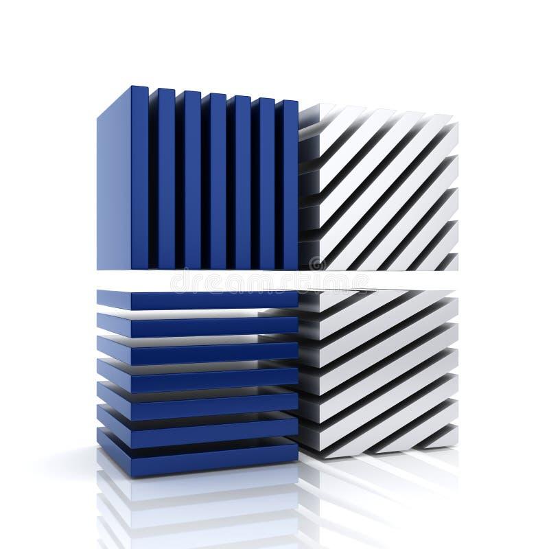 Det abstrakt blåttaffärssymbolet med bommar för royaltyfri illustrationer