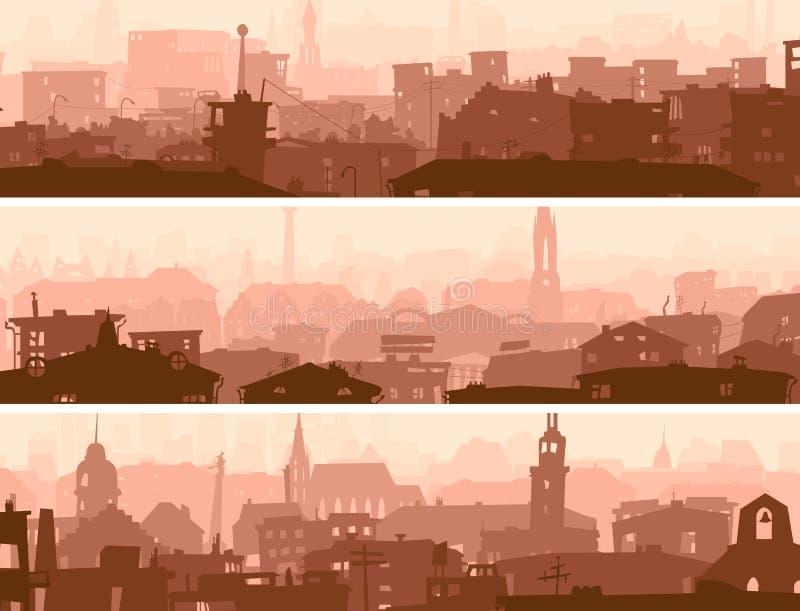 Det abstrakt horisontalbanret av townen taklägger. stock illustrationer