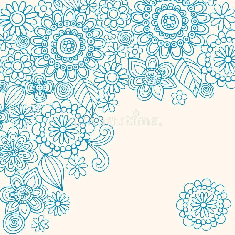 det abstrakt klottret blommar hennavektorn vektor illustrationer