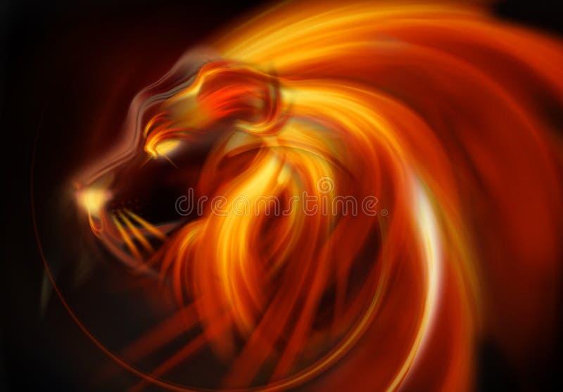 Det abstrakt lionhuvudet flammar royaltyfri illustrationer
