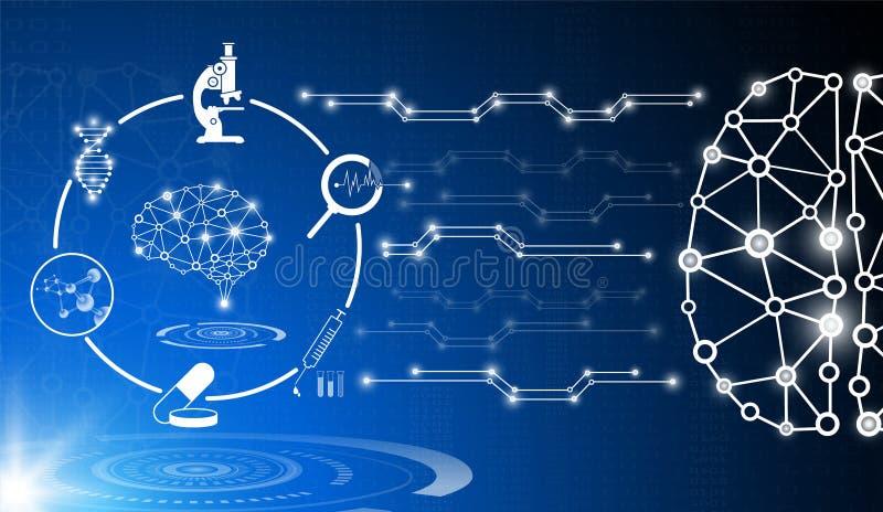 Det abstrakta bakgrundsteknologibegreppet i blått ljus, hjärnan och människokroppen läker royaltyfri illustrationer