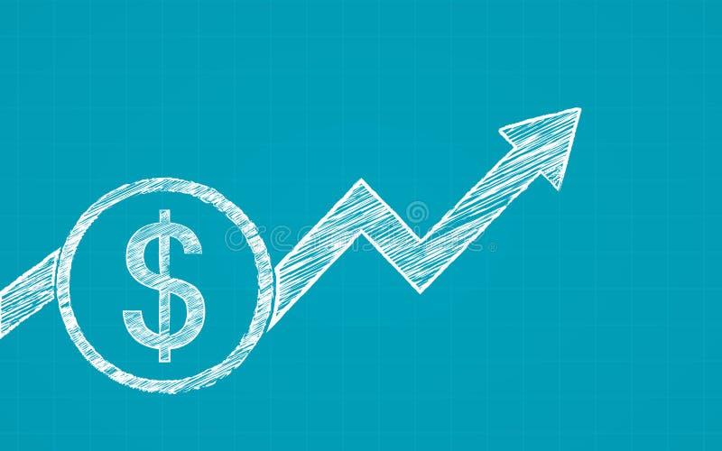 Det abstrakta finansiella diagrammet med dollarmynt och pilen i krita klottrar design på blåttfärgbakgrund stock illustrationer