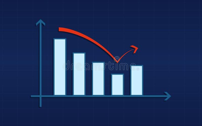 Det abstrakta finansiella stångdiagrammet med den ombundna röda pilen på blått färgar bakgrund royaltyfri illustrationer