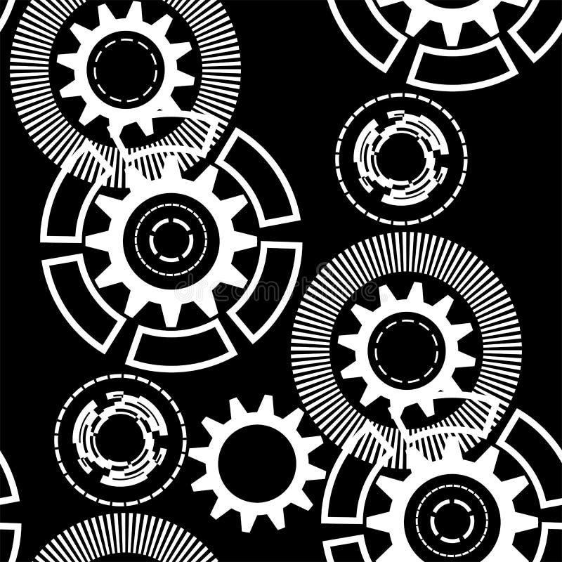 Det abstrakta geometriska kugghjulet, kugghjul, cirklar, linjer, strålar, prack linjer seamless modell royaltyfri illustrationer