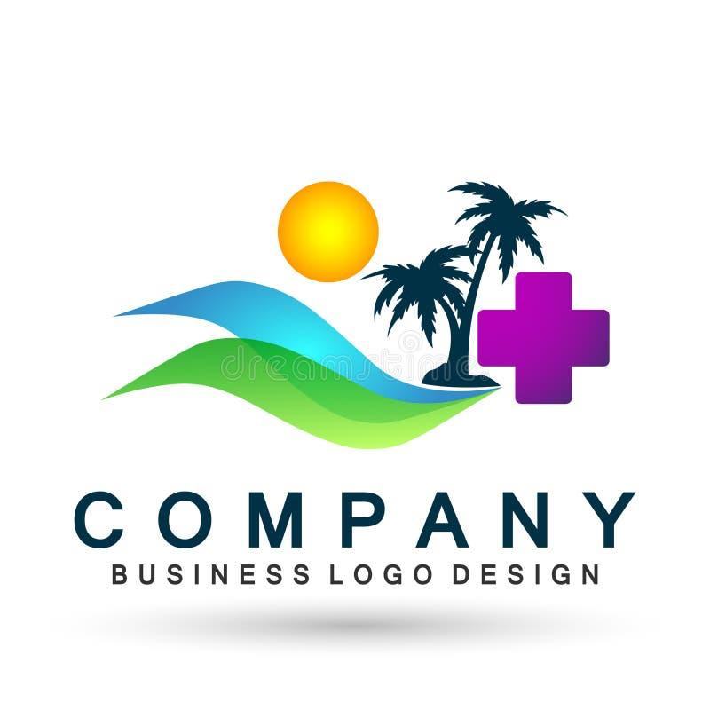 Det abstrakta havet vinkar vektorn för designen för symbolen för beståndsdelen för logoen för stranden för den medicinska palmträ stock illustrationer