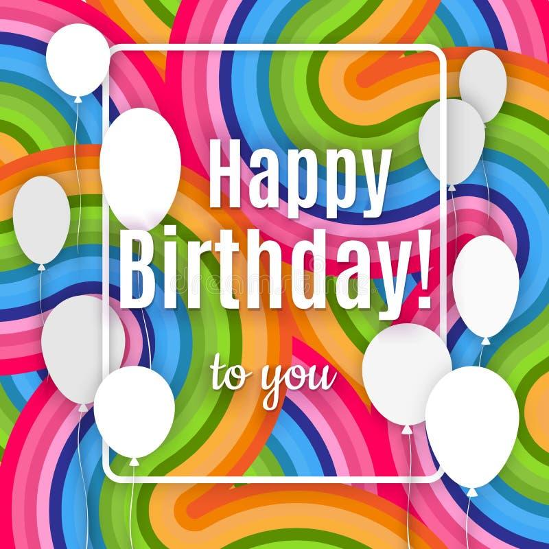 Det abstrakta idérika banret med den vita lyckliga födelsedagen för ramen och för text till dig på en ljus färgrik bakgrund av kr stock illustrationer