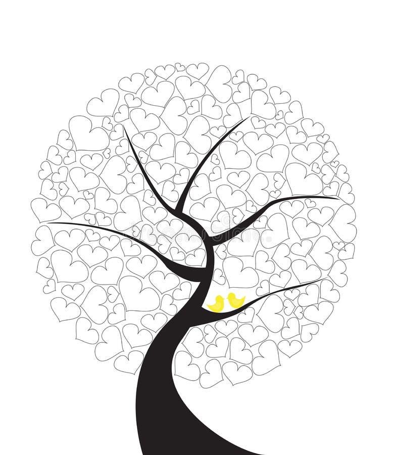 Det abstrakta illustrationträdet av förälskelse med par gulnar fåglar royaltyfri illustrationer