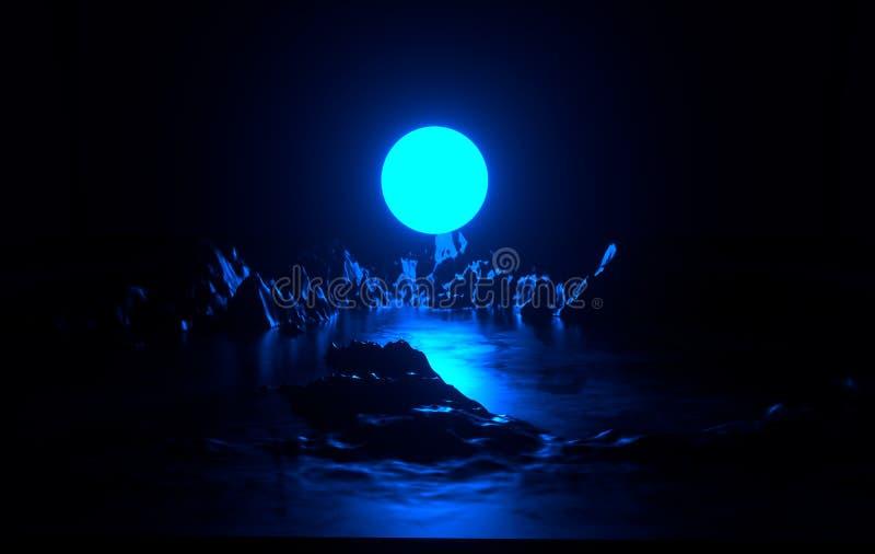 Det abstrakta kosmiska landskapet med den blått neonmånen och ljus, virtuell verklighet, den futuristiska science fictionen, mörk stock illustrationer