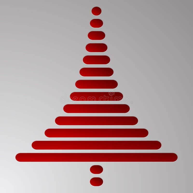 Det abstrakta röda julträdet består av rektanglar med rundade hörn på grå lutningbakgrund Präglad julgran till mött stock illustrationer